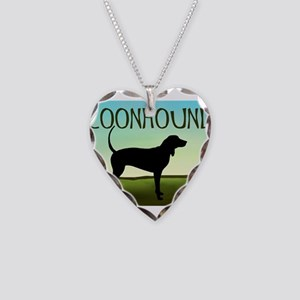 Coonhound In A Field Necklace Heart Charm