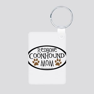 Redbone Coonhound Mom Oval Aluminum Photo Keychain