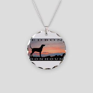 Redbone Coonhound Sunset Necklace Circle Charm