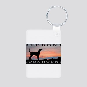 Redbone Coonhound Sunset Aluminum Photo Keychain