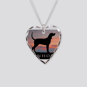 Sunset Coonhound Necklace Heart Charm