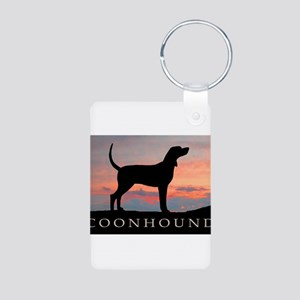 Sunset Coonhound Aluminum Photo Keychain