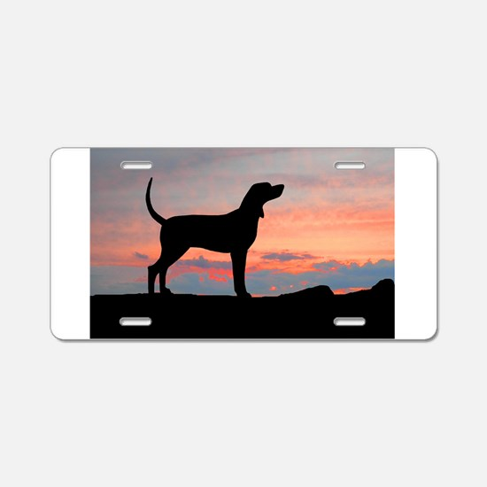 Sunset Coonhound Aluminum License Plate