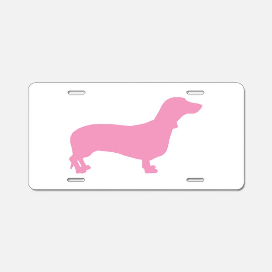Pink Dachshund Aluminum License Plate