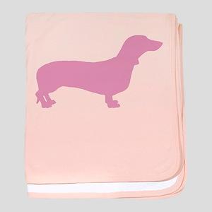 Pink Dachshund baby blanket