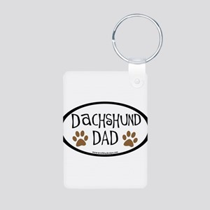 Dachshund Dad Oval Aluminum Photo Keychain