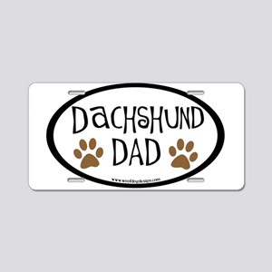 Dachshund Dad Oval Aluminum License Plate