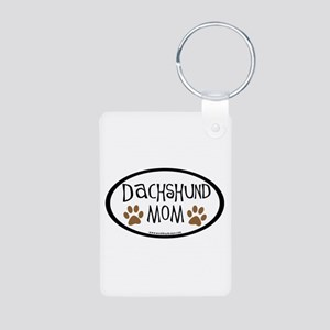 Dachshund Mom Oval Aluminum Photo Keychain