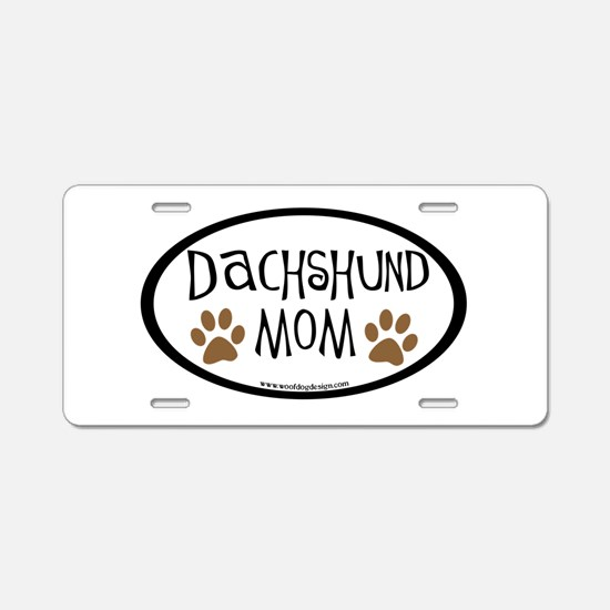 Dachshund Mom Oval Aluminum License Plate