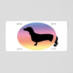 Come & Go Dachshund Dog Rainb Aluminum License