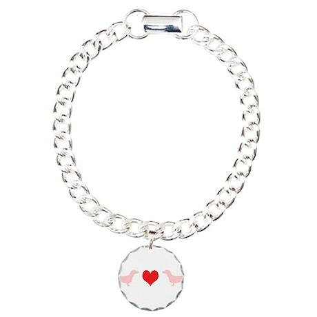 Dachshunds & Heart Charm Bracelet, One Charm