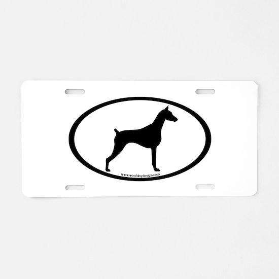 Doberman Pinscher Oval Aluminum License Plate