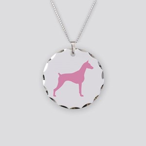 Pink Doberman Necklace Circle Charm