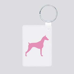 Pink Doberman Aluminum Photo Keychain