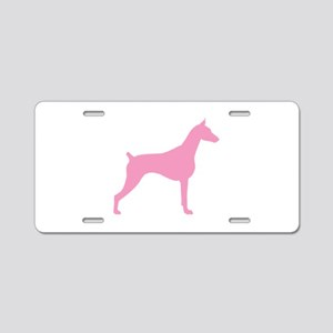 Pink Doberman Aluminum License Plate