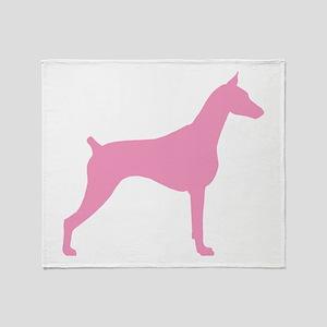 Pink Doberman Throw Blanket
