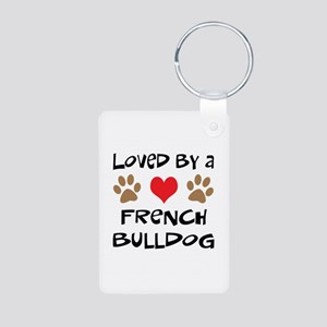 Loved By A French Bulldog Aluminum Photo Keychain