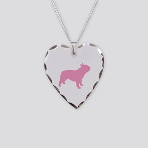 Pink French Bulldog Necklace Heart Charm