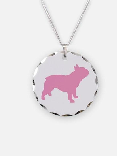 Pink French Bulldog Necklace Circle Charm