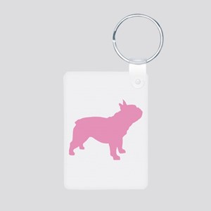 Pink French Bulldog Aluminum Photo Keychain