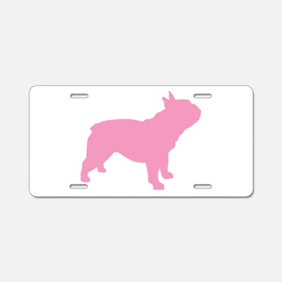 Pink French Bulldog Aluminum License Plate