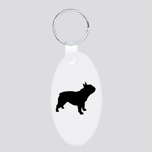 French Bulldog Aluminum Oval Keychain