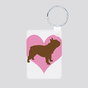 french bulldog & heart Aluminum Photo Keychain