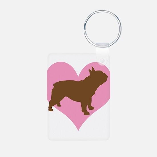 french bulldog & heart Keychains