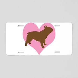 french bulldog & heart Aluminum License Plate