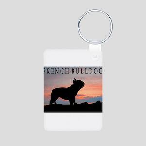 French Bulldog Sunset Aluminum Photo Keychain