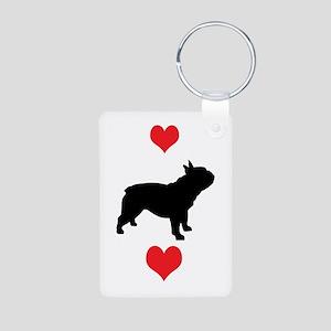 French Bulldog Red Hearts Aluminum Photo Keychain