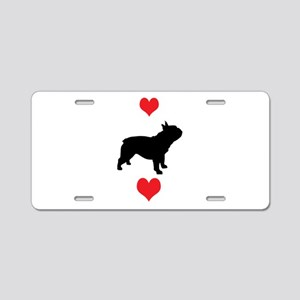 French Bulldog Red Hearts Aluminum License Plate