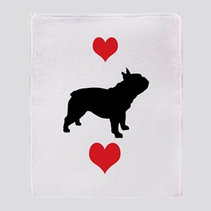 French Bulldog Red Hearts Throw Blanket