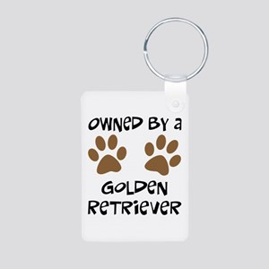 Owned By A Golden... Aluminum Photo Keychain