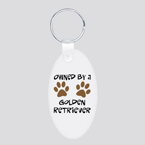 Owned By A Golden... Aluminum Oval Keychain