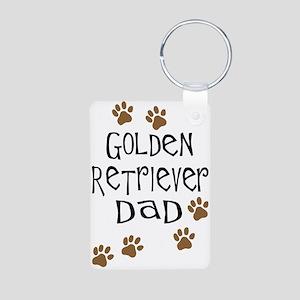 Golden Retriever Dad Aluminum Photo Keychain