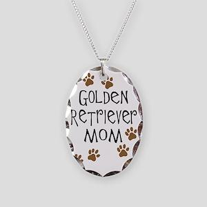 Golden Retriever Mom Necklace Oval Charm