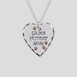 Golden Retriever Mom Necklace Heart Charm