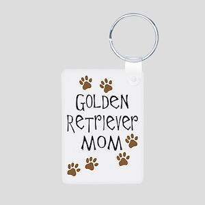 Golden Retriever Mom Aluminum Photo Keychain