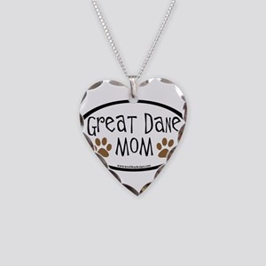 Great Dane Mom Oval Necklace Heart Charm