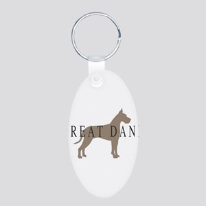 great dane greytones Aluminum Oval Keychain