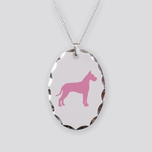 Pink Great Dane Necklace Oval Charm