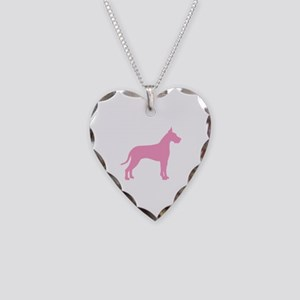 Pink Great Dane Necklace Heart Charm