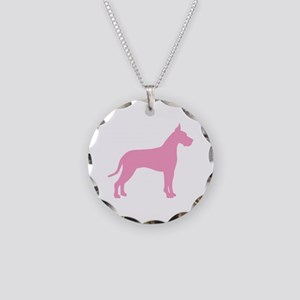 Pink Great Dane Necklace Circle Charm