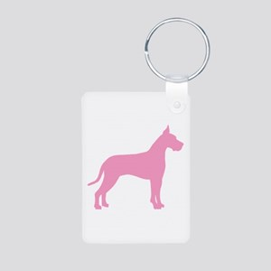 Pink Great Dane Aluminum Photo Keychain