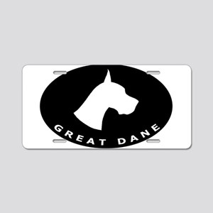 b&w great dane dog Aluminum License Plate