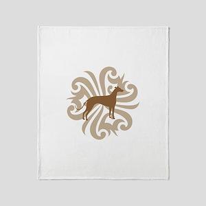 Tan & Brown Greyhound Throw Blanket