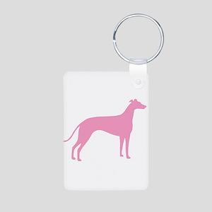 Pink Greyhound Aluminum Photo Keychain