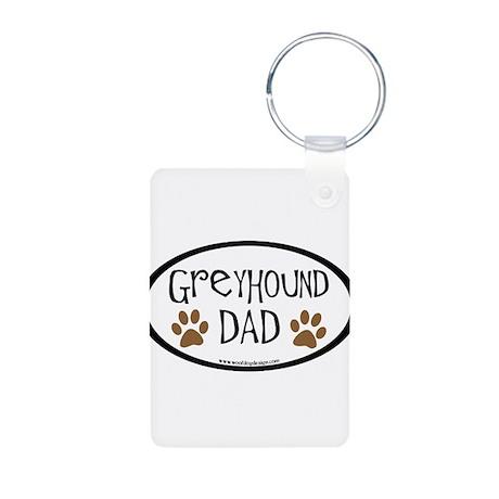 Greyhound Dad Oval Aluminum Photo Keychain