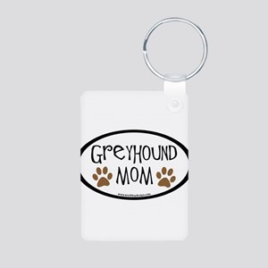 Greyhound Mom Oval Aluminum Photo Keychain